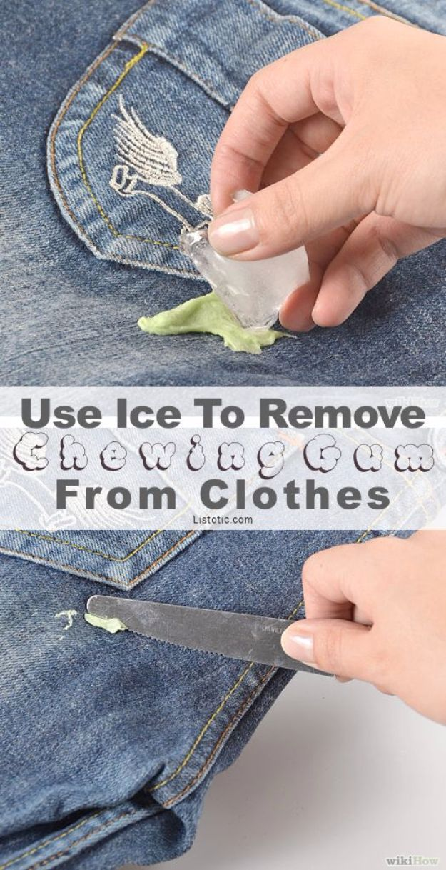 Clothes Hacks - Remove Chewing Gum From Clothes - DIY Fashion Ideas For Women and For Every Girl - Easy No Sew Hacks for Men's Shirts - Washing Machines Tips For Teens - How To Make Jeans For Fat People - Storage Tips and Videos for Room Decor http://diyjoy.com/diy-clothes-hacks