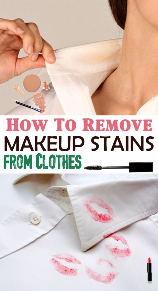Clothes Hacks - Remove Makeup Stains From Clothes - DIY Fashion Ideas For Women and For Every Girl - Easy No Sew Hacks for Men's Shirts - Washing Machines Tips For Teens - How To Make Jeans For Fat People - Storage Tips and Videos for Room Decor http://diyjoy.com/diy-clothes-hacks