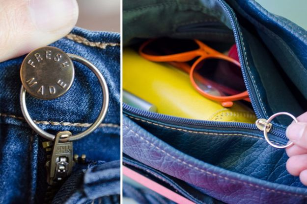 Clothes Hacks - Replace Broken Zipper Pull With Key Ring - DIY Fashion Ideas For Women and For Every Girl - Easy No Sew Hacks for Men's Shirts - Washing Machines Tips For Teens - How To Make Jeans For Fat People - Storage Tips and Videos for Room Decor http://diyjoy.com/diy-clothes-hacks