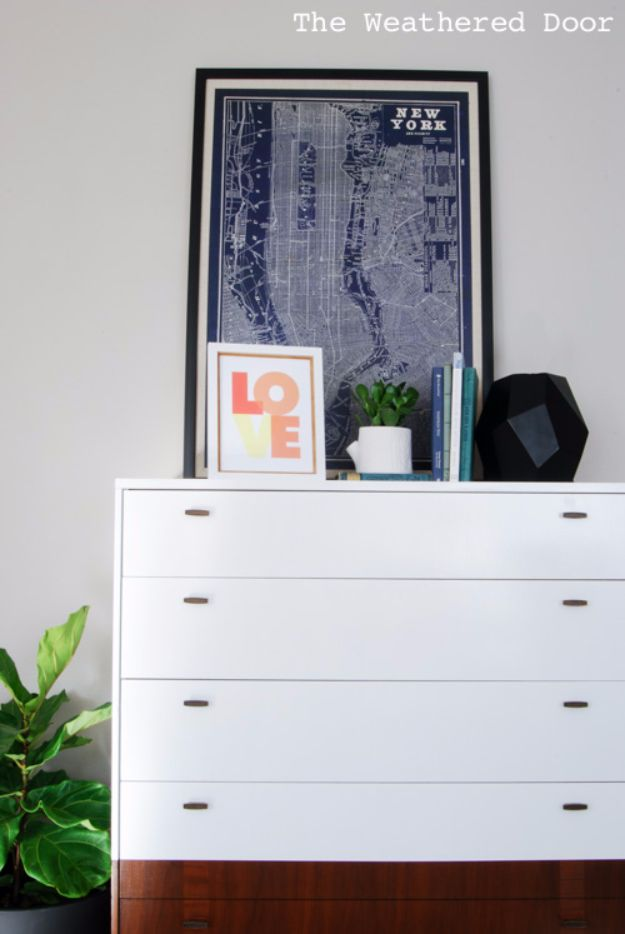 DIY Dressers - Reverse Dipped Mid Century Dresser with Angled Sides - Simple DIY Dresser Ideas - Easy Dresser Upgrades and Makeovers to Create Cool Bedroom Decor On A Budget- Do It Yourself Tutorials and Instructions for Decorating Cheap Furniture - Crafts for Women, Men and Teens http://diyjoy.com/diy-dresser-ideas