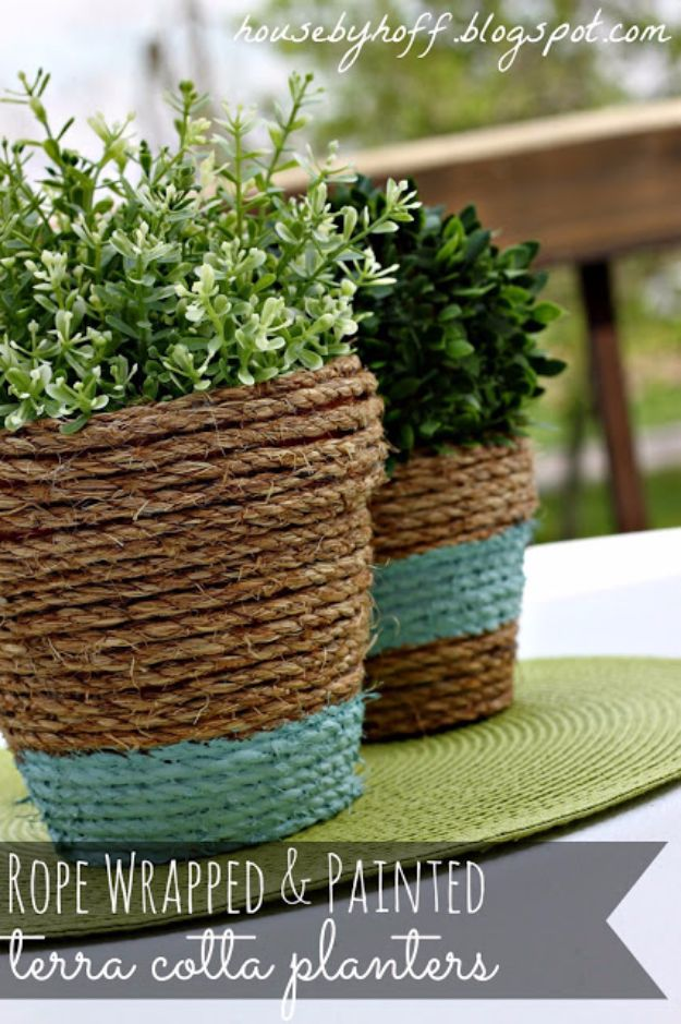 DIY Outdoor Planters - Rope-Wrapped Pots - Easy Planter Ideas to Make for The Porch, Pation and Backyard - Your Plants Will Love These DIY Plant Holders, Potting Ideas and Planter Boxes - Gardening DIY for Big and Small Plants Outdoors - Concrete, Wood, Cheap, Simple, Modern and Rustic Projects With Step by Step Instructions http://diyjoy.com/diy-oudoor-planters