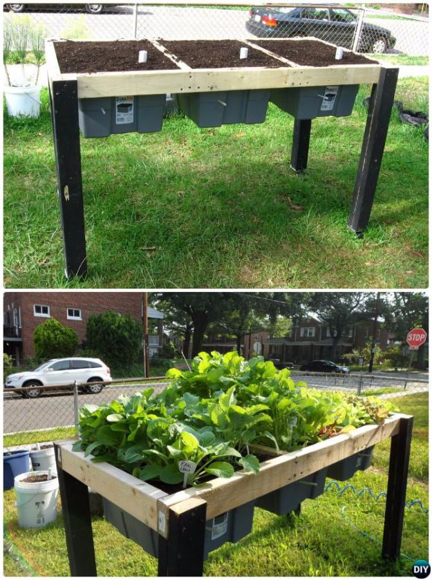 DIY Garden Beds - Self-Watering Veggie Table - Easy Gardening Ideas for Raised Beds and Planter Boxes - Free Plans, Tutorials and Step by Step Tutorials for Building and Landscaping Projects - Update Your Backyard and Gardens With These Cheap Do It Yourself Ideas http://diyjoy.com/diy-garden-beds