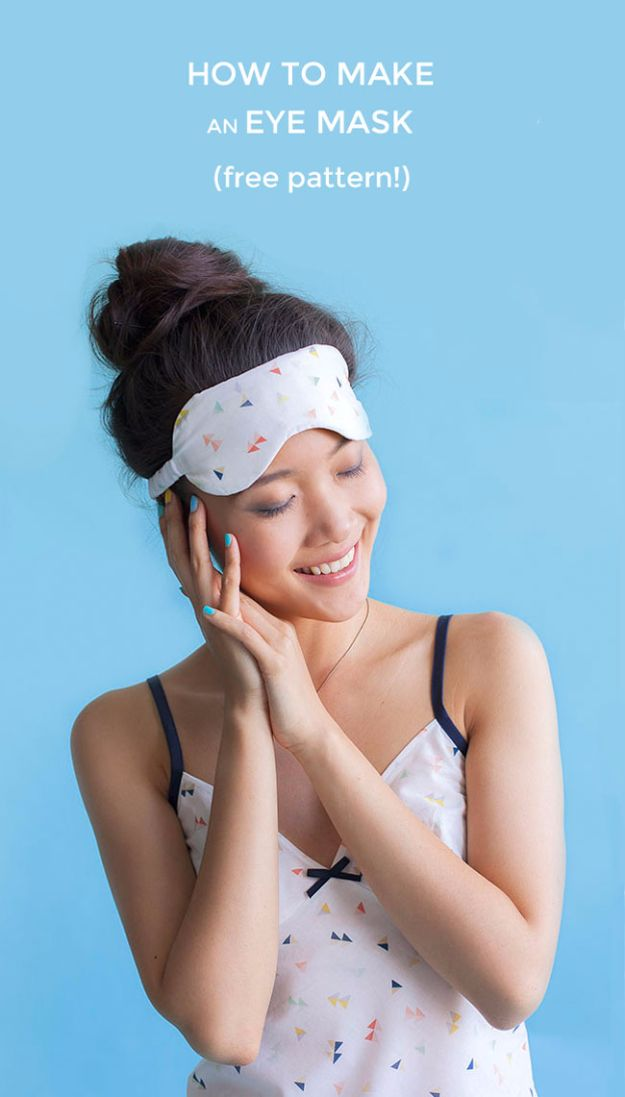 DIY Sleep Masks - Sew A Cute Eye Mask - Cute and Easy Ideas for Making a Homemade Sleep Mask - Best DIY Gift Ideas for Her - Cool Crafts To Make and Sell On Etsy - Creative Presents for Girls, Women and Teens - Do It Yourself Sleeping With Words, Accents and Fun Accessories for Relaxing http://diyjoy.com/diy-sleep-masks