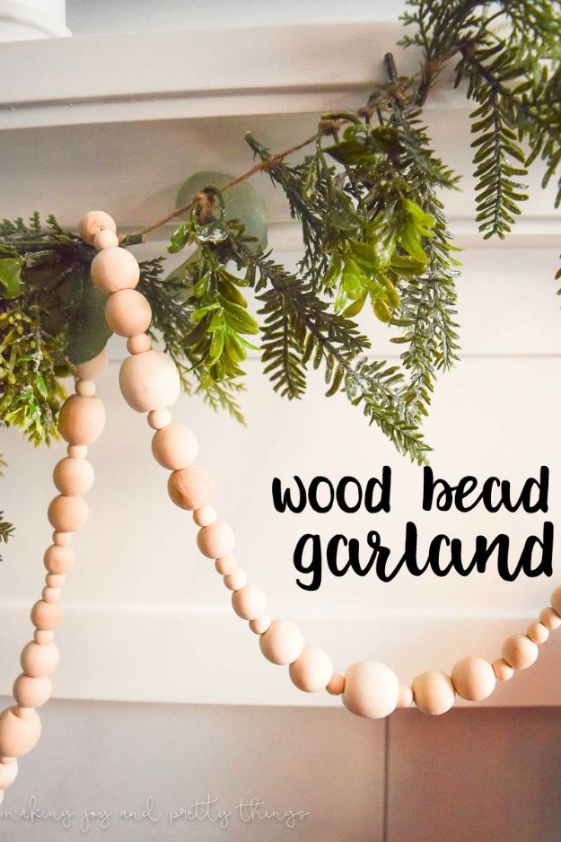 DIY Ideas With Beads - Simple Farmhouse Wood Bead Garland - Cool Crafts and Do It Yourself Ideas Made With Beads - Outdoor Windchimes, Indoor Wall Art, Cute and Easy DIY Gifts - Fun Projects for Kids, Adults and Teens - Bead Project Tutorials With Step by Step Instructions - Best Crafts To Make and Sell on Etsy