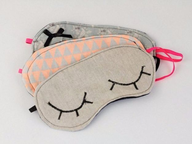 DIY Sleep Masks - Sleep Mask DIY - Cute and Easy Ideas for Making a Homemade Sleep Mask - Best DIY Gift Ideas for Her - Cool Crafts To Make and Sell On Etsy - Creative Presents for Girls, Women and Teens - Do It Yourself Sleeping With Words, Accents and Fun Accessories for Relaxing   #diy #diygifts