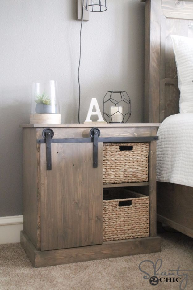 DIY Nightstands for the Bedroom - Sliding Barn Door Nightstand - Easy Do It Yourself Bedside Tables and Furniture Project Ideas - Thrift Store Makeovers For Your Room and Bed Side Night Stand - Storage for Books and Remotes, Cute Shabby Chic and Vintage Decor - Step by Step Tutorials and Instructions http://diyjoy.com/diy-nightstands-bedroom