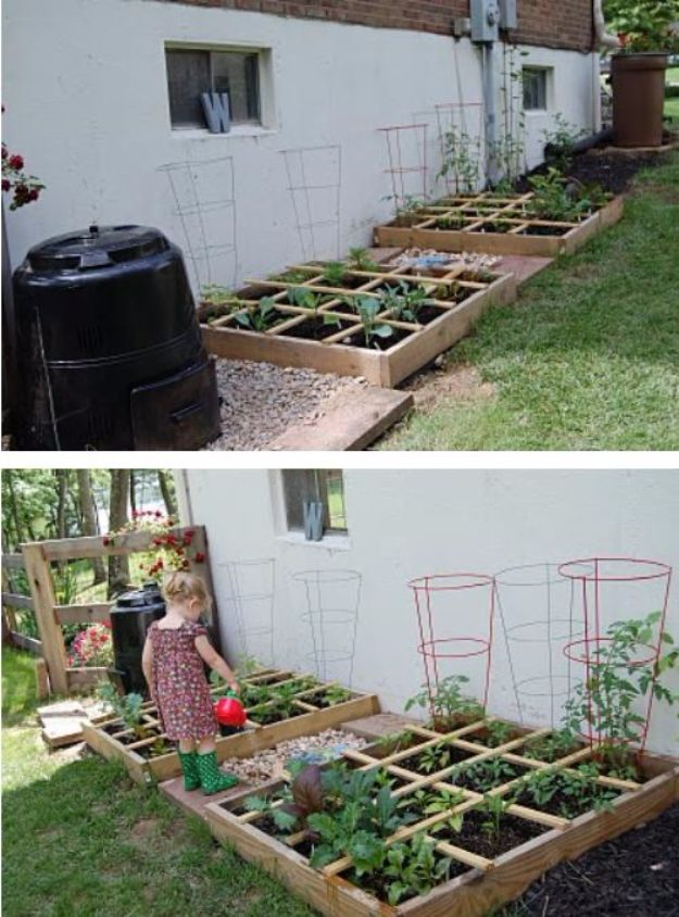 DIY Garden Beds - Square Foot Garden Bed - Easy Gardening Ideas for Raised Beds and Planter Boxes - Free Plans, Tutorials and Step by Step Tutorials for Building and Landscaping Projects - Update Your Backyard and Gardens With These Cheap Do It Yourself Ideas http://diyjoy.com/diy-garden-beds