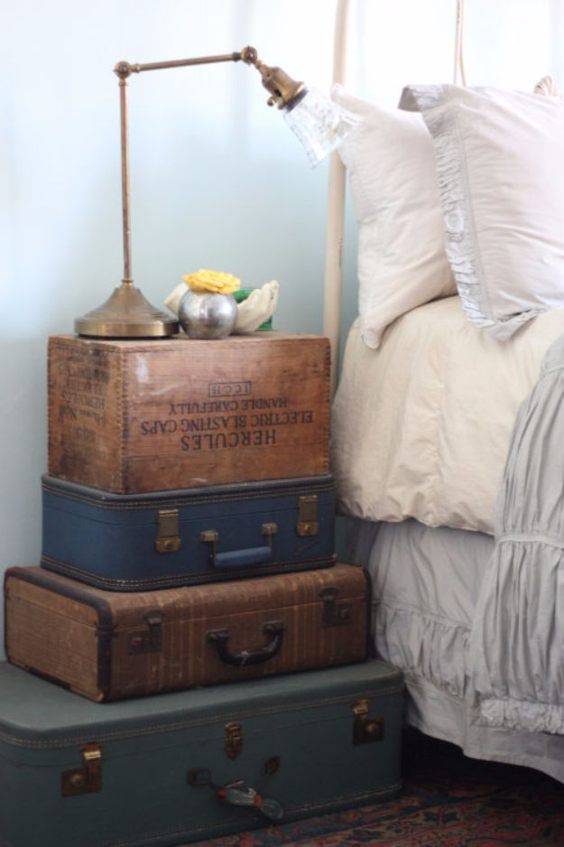 DIY Nightstands for the Bedroom - Stacked Vintage Suitcase Nightstand - Easy Do It Yourself Bedside Tables and Furniture Project Ideas - Thrift Store Makeovers For Your Room and Bed Side Night Stand - Storage for Books and Remotes, Cute Shabby Chic and Vintage Decor - Step by Step Tutorials and Instructions http://diyjoy.com/diy-nightstands-bedroom