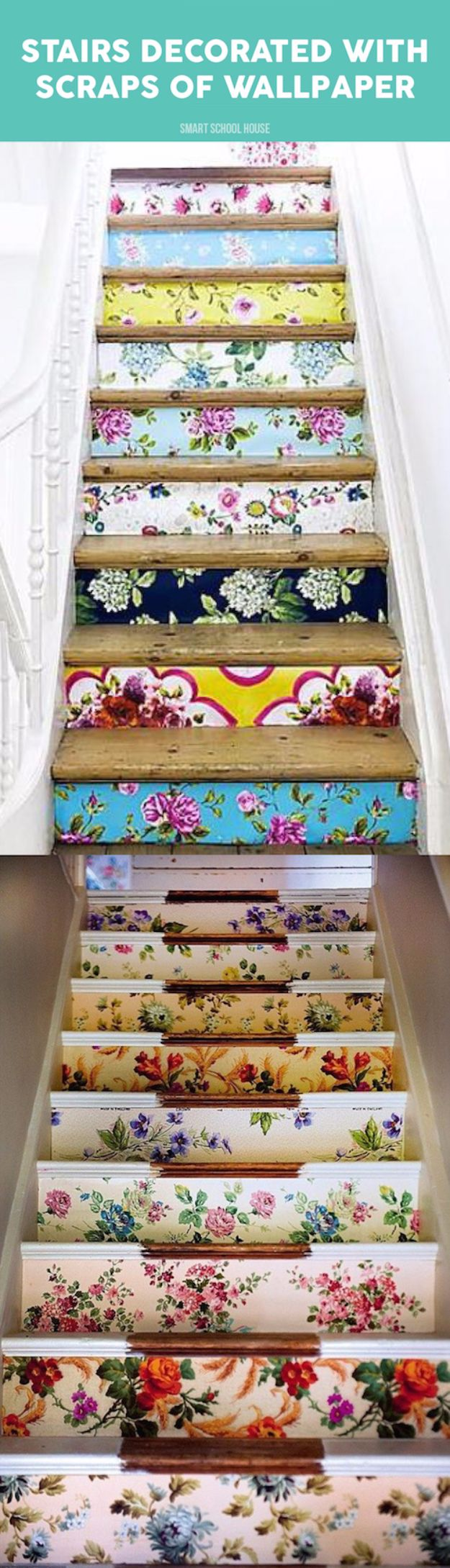 DIY Ideas for Wallpaper Scraps - Stairs Decorated With Scraps Of Wallpaper - Cute Projects and Easy DIY Gift Ideas to Make With Leftover Wall Paper - Fun Home Decor, Homemade Wall Art Idea Tutorials, Creative Ways to Use Old Wallpapers - Cool Crafts for Men, Women and Teens http://diyjoy.com/diy-ideas-wallpaper-scraps