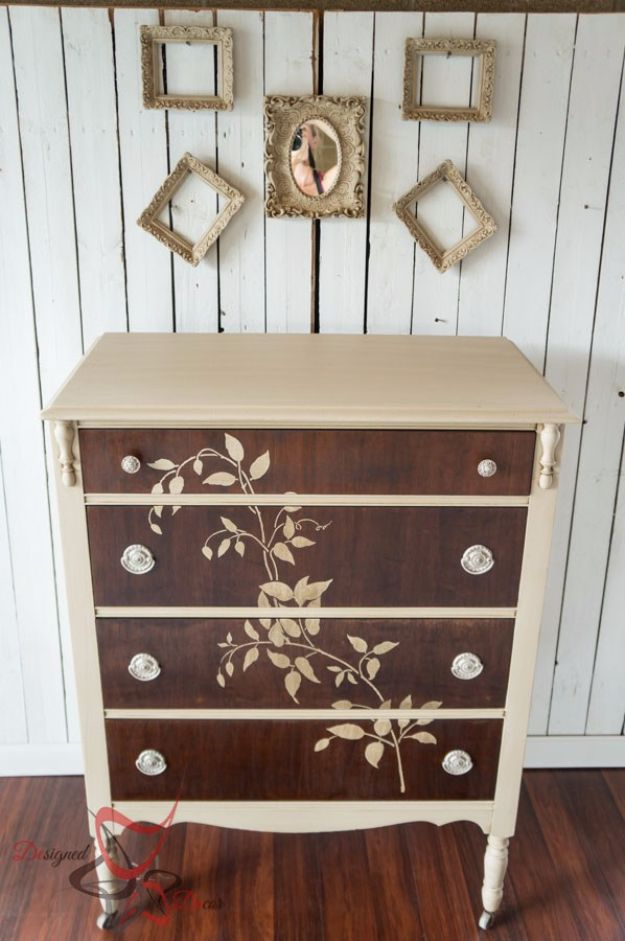 DIY Dressers - Stenciled Wood Dresser - Simple DIY Dresser Ideas - Easy Dresser Upgrades and Makeovers to Create Cool Bedroom Decor On A Budget- Do It Yourself Tutorials and Instructions for Decorating Cheap Furniture - Crafts for Women, Men and Teens http://diyjoy.com/diy-dresser-ideas