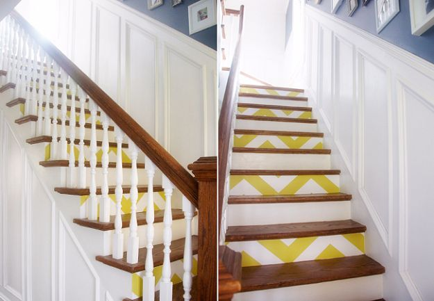 DIY Ideas for Wallpaper Scraps - Step Up Your Stairs - Cute Projects and Easy DIY Gift Ideas to Make With Leftover Wall Paper - Fun Home Decor, Homemade Wall Art Idea Tutorials, Creative Ways to Use Old Wallpapers - Cool Crafts for Men, Women and Teens http://diyjoy.com/diy-ideas-wallpaper-scraps