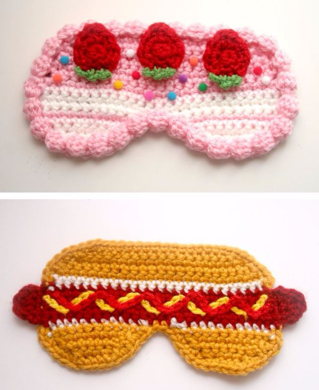 DIY Sleep Masks - Strawberry Cake And Hot Dog Sleep Masks - Cute and Easy Ideas for Making a Homemade Sleep Mask - Best DIY Gift Ideas for Her - Cool Crafts To Make and Sell On Etsy - Creative Presents for Girls, Women and Teens - Do It Yourself Sleeping With Words, Accents and Fun Accessories for Relaxing   #diy #diygifts