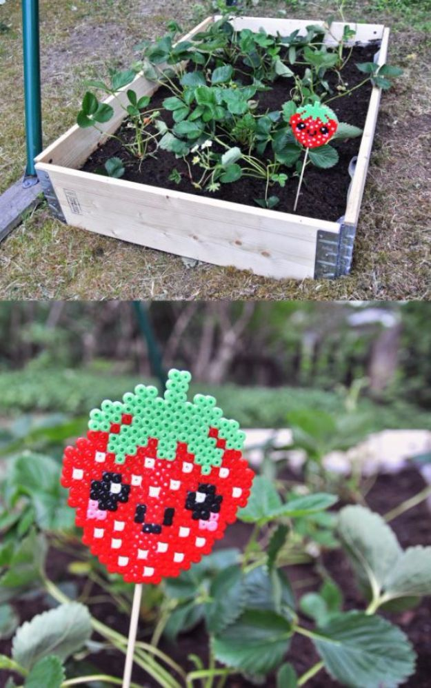 DIY Ideas With Beads - Strawberry Garden Marker - Cool Crafts and Do It Yourself Ideas Made With Beads - Outdoor Windchimes, Indoor Wall Art, Cute and Easy DIY Gifts - Fun Projects for Kids, Adults and Teens - Bead Project Tutorials With Step by Step Instructions - Best Crafts To Make and Sell on Etsy