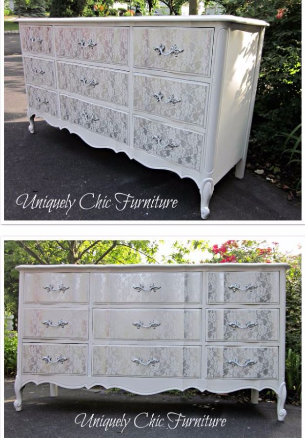 DIY Dressers - Stunning Lace Dresser - Simple DIY Dresser Ideas - Easy Dresser Upgrades and Makeovers to Create Cool Bedroom Decor On A Budget- Do It Yourself Tutorials and Instructions for Decorating Cheap Furniture - Crafts for Women, Men and Teens http://diyjoy.com/diy-dresser-ideas