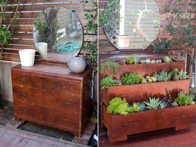 DIY Garden Beds - Succulent Dresser - Easy Gardening Ideas for Raised Beds and Planter Boxes - Free Plans, Tutorials and Step by Step Tutorials for Building and Landscaping Projects - Update Your Backyard and Gardens With These Cheap Do It Yourself Ideas http://diyjoy.com/diy-garden-beds