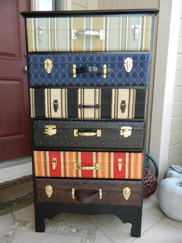 DIY Dressers - Suitcase Dresser - Simple DIY Dresser Ideas - Easy Dresser Upgrades and Makeovers to Create Cool Bedroom Decor On A Budget- Do It Yourself Tutorials and Instructions for Decorating Cheap Furniture - Crafts for Women, Men and Teens http://diyjoy.com/diy-dresser-ideas
