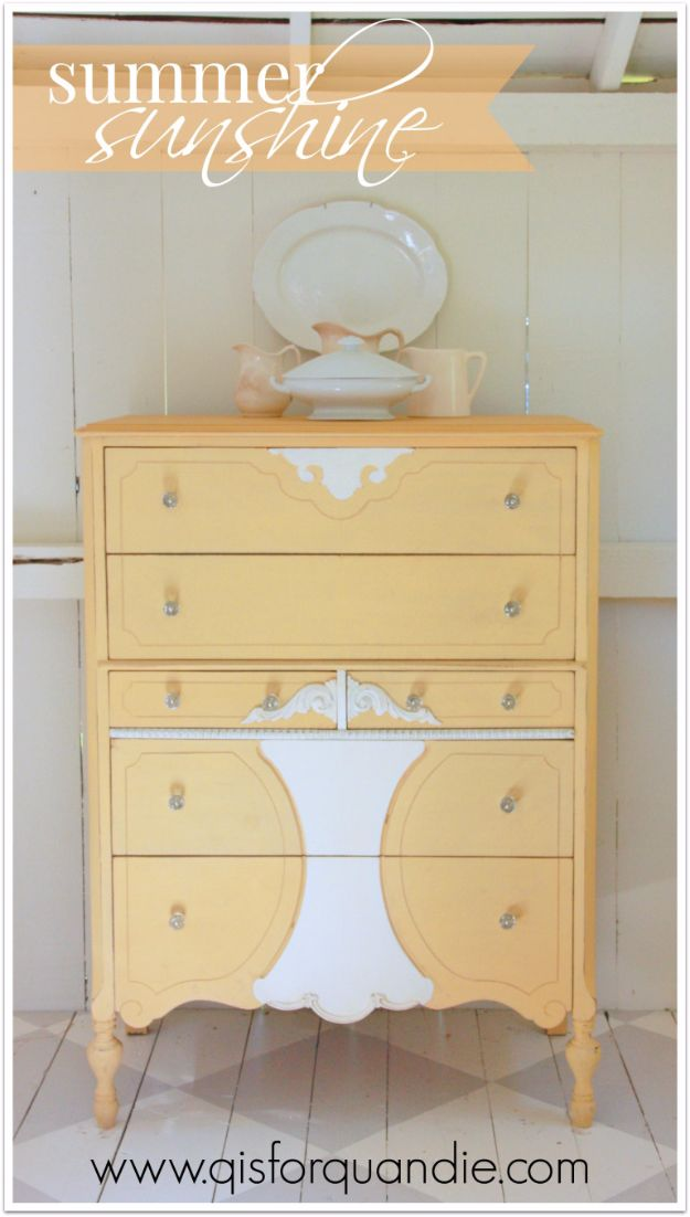 DIY Dressers - Summer Sunshine Yellow Dresser - Simple DIY Dresser Ideas - Easy Dresser Upgrades and Makeovers to Create Cool Bedroom Decor On A Budget- Do It Yourself Tutorials and Instructions for Decorating Cheap Furniture - Crafts for Women, Men and Teens http://diyjoy.com/diy-dresser-ideas