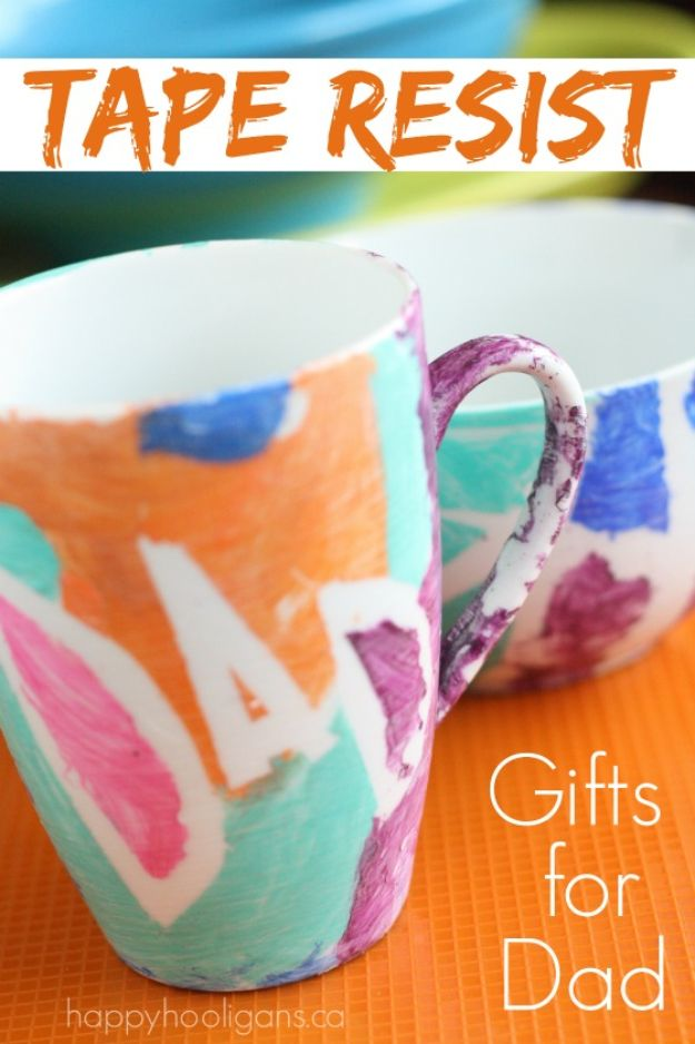 DIY Coffee Mugs - Tape Resist Coffee Mug - Easy Coffee Mug Ideas for Homemade Gifts and Crafts - Decorate Your Coffee Cups and Tumblers With These Cool Art Ideas - Glitter, Paint, Sharpie Craft, Nail Polish Water Marble and Teen Projects http://diyjoy.com/diy-coffee-mugs