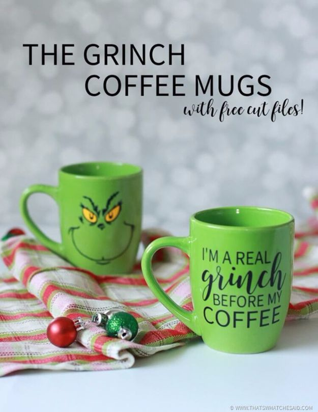 DIY Ideas for The Coffee Lover - The Grinch Coffee Mugs - Easy and Cool Gift Ideas for People Who Love Coffee Drinks - Coaster, Cups and Mugs, Tumblers, Canisters and Do It Yourself Gift Ideas - Gift Jars and Baskets, Fun Presents to Make for Mom, Dad and Friends http://diyjoy.com/diy-ideas-coffee-lover