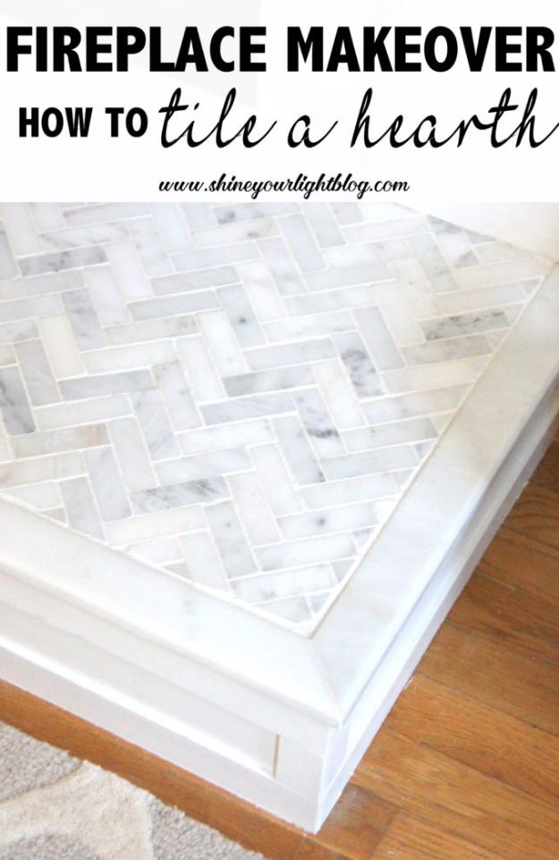 DIY Tile Ideas - Tile A Hearth - Creative Crafts for Bathroom, Kitchen, Living Room, and Fireplace - Awesome Shower and Bathtub Ideas - Fun and Easy Home Decor Projects - How To Make Rustic Entryway Art http://diyjoy.com/diy-tile-ideas