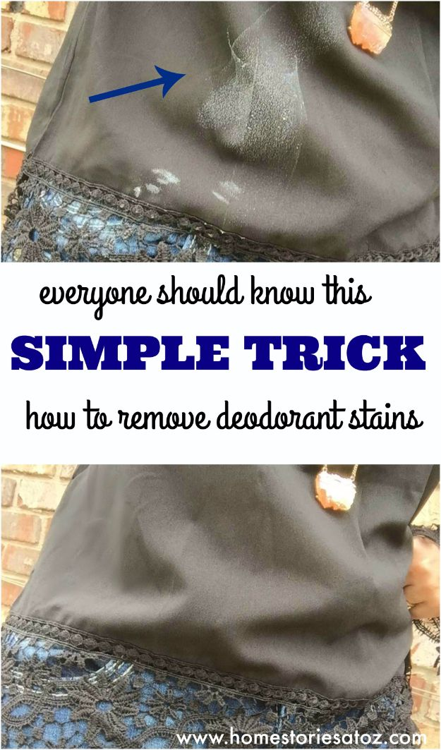 Clothes Hacks - Trick To Remove Deodorant Stains - DIY Fashion Ideas For Women and For Every Girl - Easy No Sew Hacks for Men's Shirts - Washing Machines Tips For Teens - How To Make Jeans For Fat People - Storage Tips and Videos for Room Decor http://diyjoy.com/diy-clothes-hacks