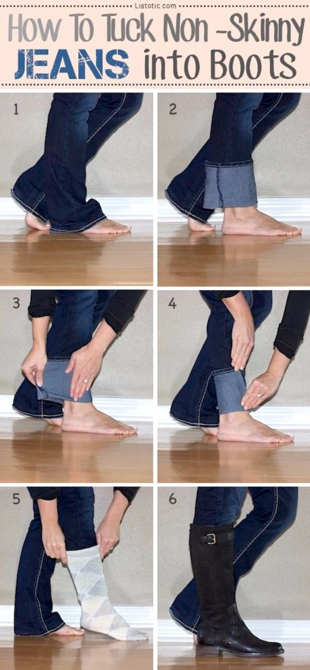 Clothes Hacks - Tuck Jeans Into Boots - DIY Fashion Ideas For Women and For Every Girl - Easy No Sew Hacks for Men's Shirts - Washing Machines Tips For Teens - How To Make Jeans For Fat People - Storage Tips and Videos for Room Decor http://diyjoy.com/diy-clothes-hacks