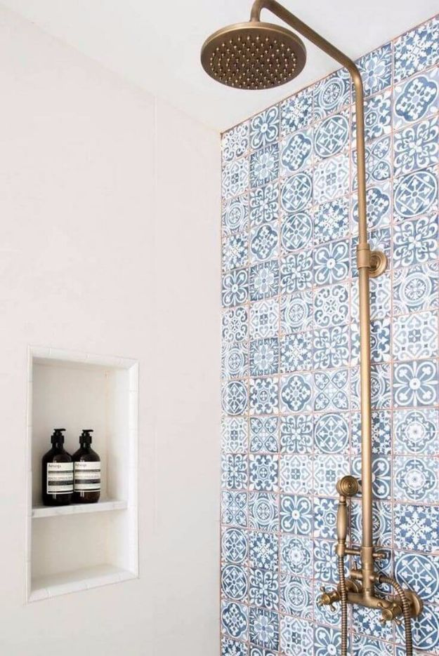 DIY Tile Ideas - Tunisian Kasbah Blue Shower Tiles - Creative Crafts for Bathroom, Kitchen, Living Room, and Fireplace - Awesome Shower and Bathtub Ideas - Fun and Easy Home Decor Projects - How To Make Rustic Entryway Art http://diyjoy.com/diy-tile-ideas