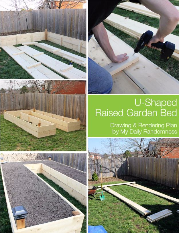 DIY Garden Beds - U-Shaped Raised Garden Bed - Easy Gardening Ideas for Raised Beds and Planter Boxes - Free Plans, Tutorials and Step by Step Tutorials for Building and Landscaping Projects - Update Your Backyard and Gardens With These Cheap Do It Yourself Ideas http://diyjoy.com/diy-garden-beds