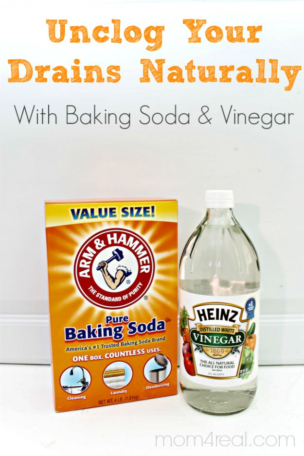 Best Spring Cleaning Ideas - Unclog Your Drains with Baking Soda and Vinegar - Easy Cleaning Tips For Home - DIY Cleaning Hacks and Product Recipes - Tips and Tricks for Cleaning the Bathroom, Kitchen, Floors and Countertops - Cheap Solutions for A Clean House http://diyjoy.com/best-spring-cleaning-ideas