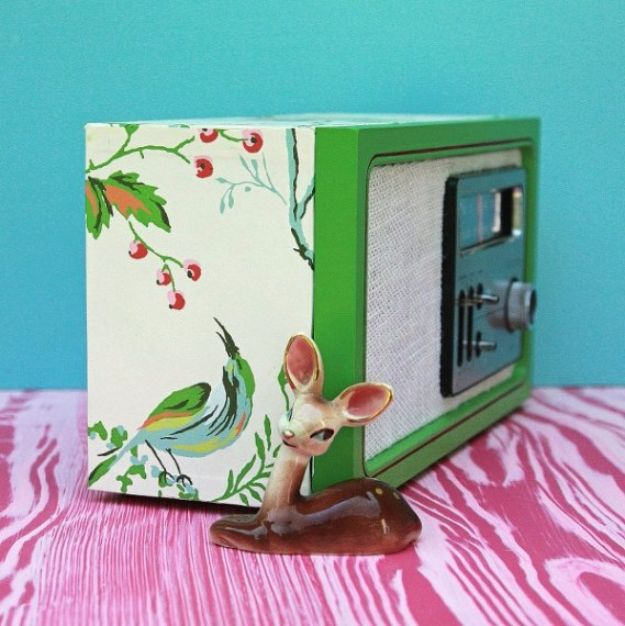 DIY Ideas for Wallpaper Scraps - Upcycled Wallpaper Covered Radio Revamp - Cute Projects and Easy DIY Gift Ideas to Make With Leftover Wall Paper - Fun Home Decor, Homemade Wall Art Idea Tutorials, Creative Ways to Use Old Wallpapers - Cool Crafts for Men, Women and Teens http://diyjoy.com/diy-ideas-wallpaper-scraps
