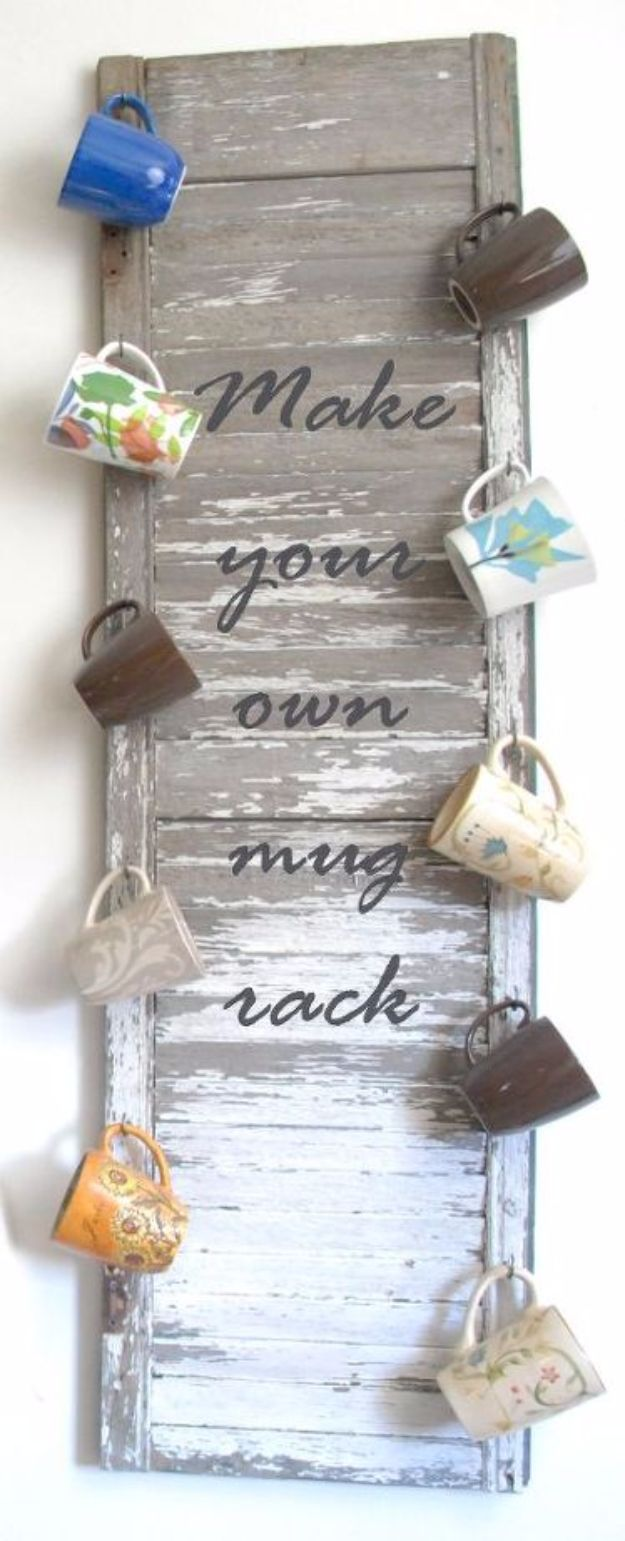 DIY Ideas for The Coffee Lover - Vintage Shutter Mug Rack - Easy and Cool Gift Ideas for People Who Love Coffee Drinks - Coaster, Cups and Mugs, Tumblers, Canisters and Do It Yourself Gift Ideas - Gift Jars and Baskets, Fun Presents to Make for Mom, Dad and Friends http://diyjoy.com/diy-ideas-coffee-lover