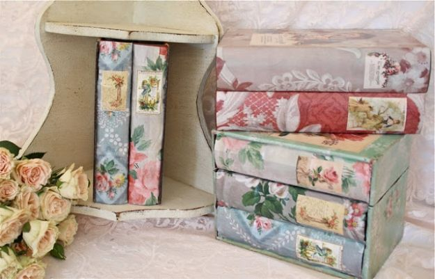 DIY Ideas for Wallpaper Scraps - Vintage Wallpaper Covered Book Boxes - Cute Projects and Easy DIY Gift Ideas to Make With Leftover Wall Paper - Fun Home Decor, Homemade Wall Art Idea Tutorials, Creative Ways to Use Old Wallpapers - Cool Crafts for Men, Women and Teens http://diyjoy.com/diy-ideas-wallpaper-scraps