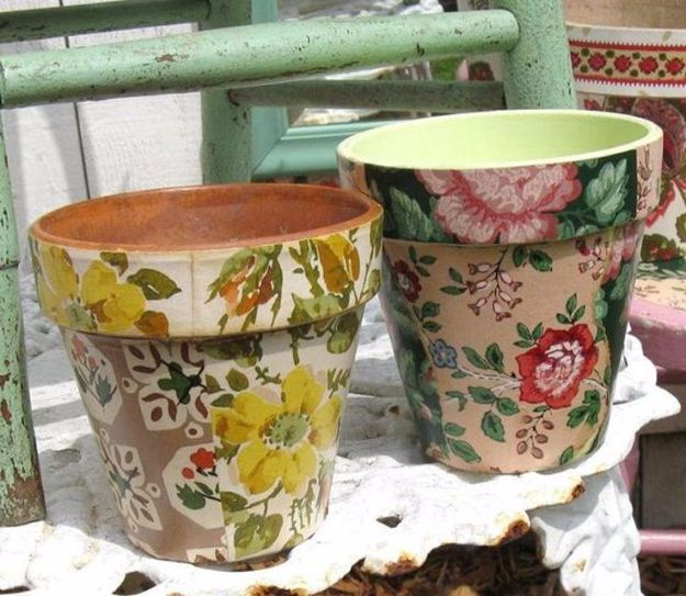 DIY Ideas for Wallpaper Scraps - Wallpaper Decoupage Flower Pots - Cute Projects and Easy DIY Gift Ideas to Make With Leftover Wall Paper - Fun Home Decor, Homemade Wall Art Idea Tutorials, Creative Ways to Use Old Wallpapers - Cool Crafts for Men, Women and Teens http://diyjoy.com/diy-ideas-wallpaper-scraps