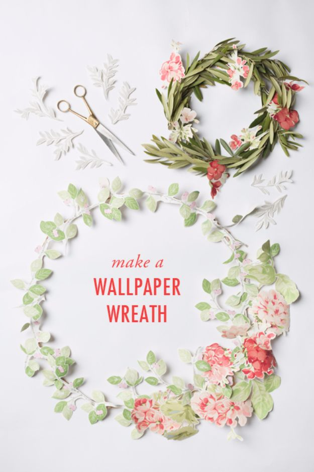 DIY Ideas for Wallpaper Scraps - Wallpaper Flower Wreath - Cute Projects and Easy DIY Gift Ideas to Make With Leftover Wall Paper - Fun Home Decor, Homemade Wall Art Idea Tutorials, Creative Ways to Use Old Wallpapers - Cool Crafts for Men, Women and Teens http://diyjoy.com/diy-ideas-wallpaper-scraps