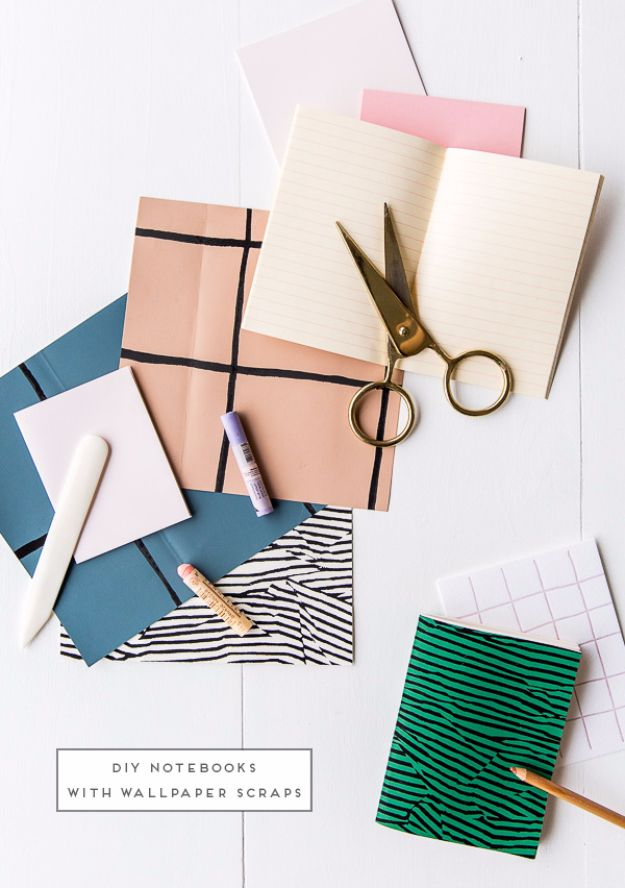 DIY Ideas for Wallpaper Scraps - Wallpaper Notebooks - Cute Projects and Easy DIY Gift Ideas to Make With Leftover Wall Paper - Fun Home Decor, Homemade Wall Art Idea Tutorials, Creative Ways to Use Old Wallpapers - Cool Crafts for Men, Women and Teens http://diyjoy.com/diy-ideas-wallpaper-scraps
