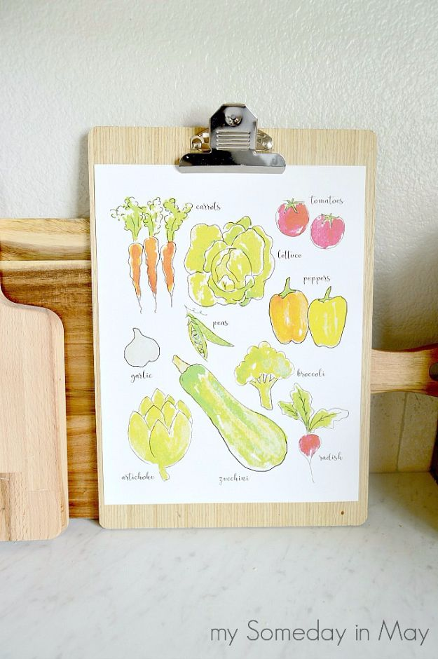 Best Free Printables for Crafts - Watercolor Vegetables Printable - Quotes, Templates, Paper Projects and Cards, DIY Gifts Cards, Stickers and Wall Art You Can Print At Home - Use These Fun Do It Yourself Template and Craft Ideas for Your Next Craft Projects - Cute Arts and Crafts Ideas for Kids and Adults to Make on Printer / Printable http://diyjoy.com/best-free-printables-crafts
