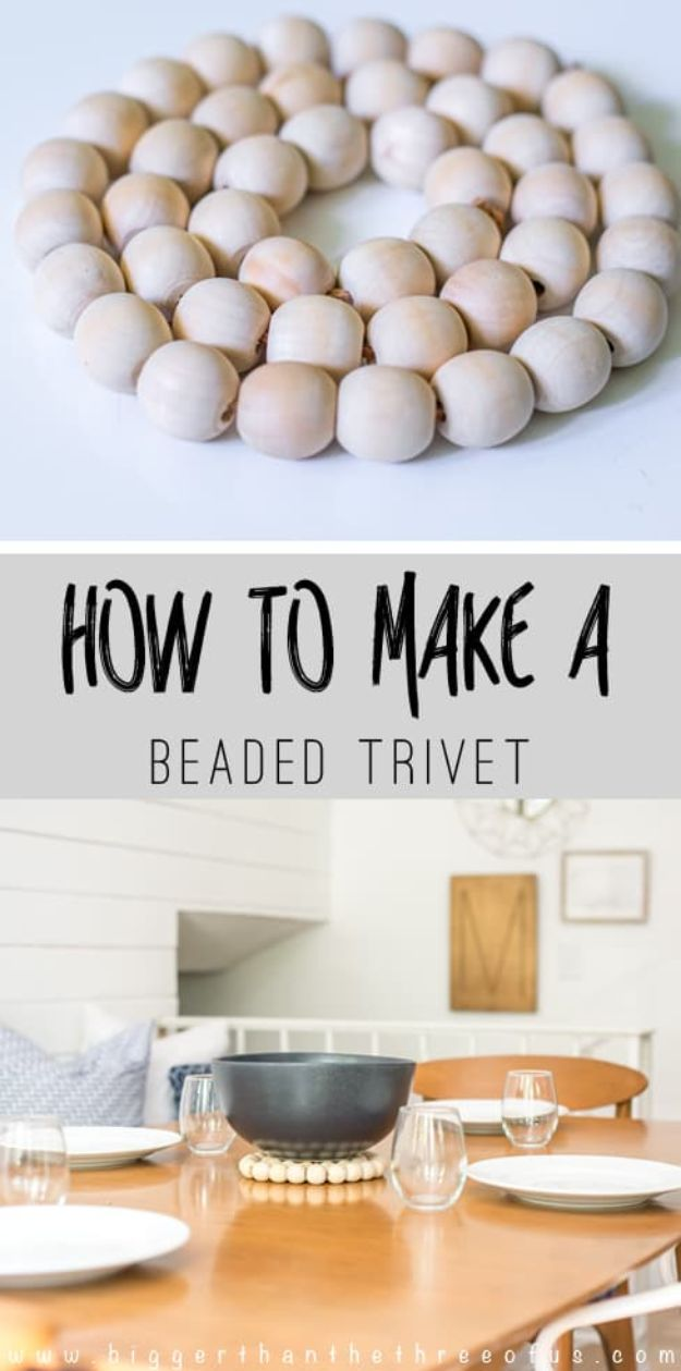 DIY Ideas With Beads - West Elm Inspired DIY Wood Trivet - Cool Crafts and Do It Yourself Ideas Made With Beads - Outdoor Windchimes, Indoor Wall Art, Cute and Easy DIY Gifts - Fun Projects for Kids, Adults and Teens - Bead Project Tutorials With Step by Step Instructions - Best Crafts To Make and Sell on Etsy