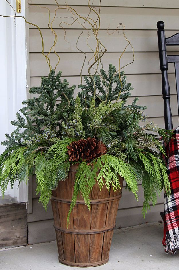 DIY Outdoor Planters - Winter Porch Pots - Easy Planter Ideas to Make for The Porch, Pation and Backyard - Your Plants Will Love These DIY Plant Holders, Potting Ideas and Planter Boxes - Gardening DIY for Big and Small Plants Outdoors - Concrete, Wood, Cheap, Simple, Modern and Rustic Projects With Step by Step Instructions http://diyjoy.com/diy-oudoor-planters