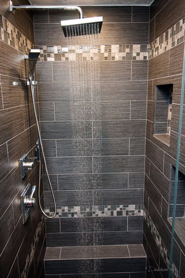DIY Tile Ideas - Woodland Wonderland Differing Duo Tiling - Creative Crafts for Bathroom, Kitchen, Living Room, and Fireplace - Awesome Shower and Bathtub Ideas - Fun and Easy Home Decor Projects - How To Make Rustic Entryway Art #homeimprovement #diy