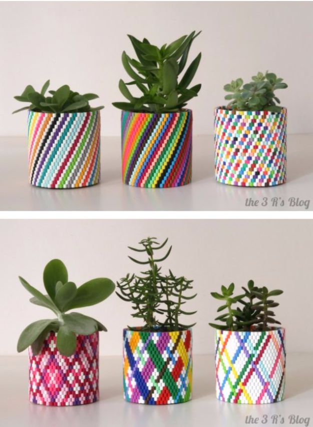 DIY Ideas With Beads - Woven Bead Planter - Cool Crafts and Do It Yourself Ideas Made With Beads - Outdoor Windchimes, Indoor Wall Art, Cute and Easy DIY Gifts - Fun Projects for Kids, Adults and Teens - Bead Project Tutorials With Step by Step Instructions - Best Crafts To Make and Sell on Etsy