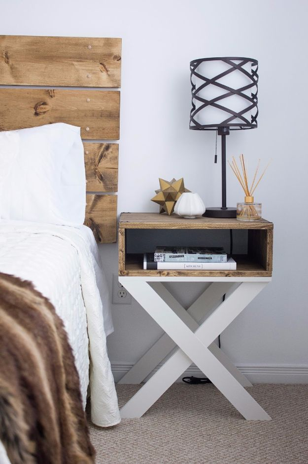 DIY Nightstands for the Bedroom - X-Shaped Nightstand - Easy Do It Yourself Bedside Tables and Furniture Project Ideas - Thrift Store Makeovers For Your Room and Bed Side Night Stand - Storage for Books and Remotes, Cute Shabby Chic and Vintage Decor - Step by Step Tutorials and Instructions http://diyjoy.com/diy-nightstands-bedroom