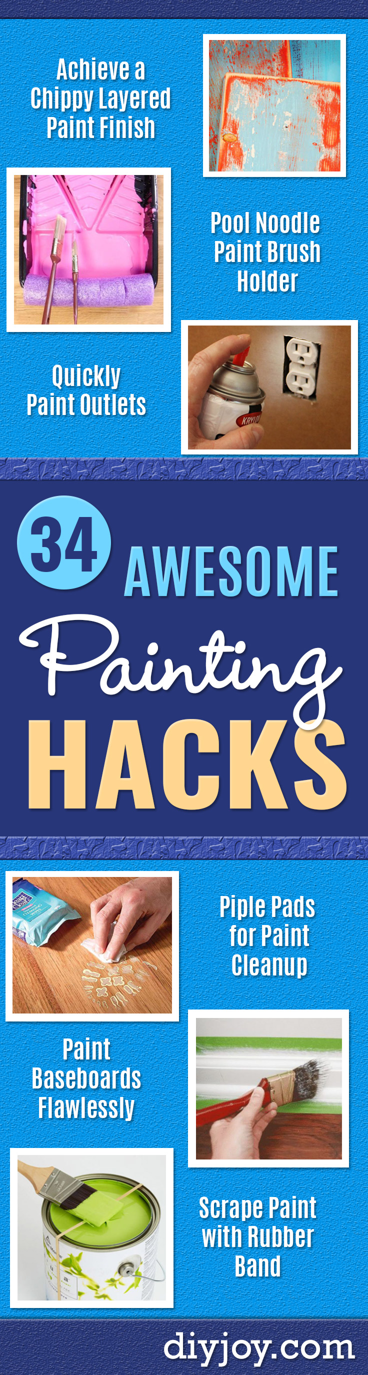 DIY Painting Hacks - Easy Ways To Shortcut House Painting - Wall Prep, Painters Tape, Trim, Edging, Ceiling, Exterior Cutting In, Furniture and Crafts Paint Tips - Paint Your House Or Your Room With These Time Saving Painter Hacks and Quick Tricks http://diyjoy.com/diy-painting-hacks