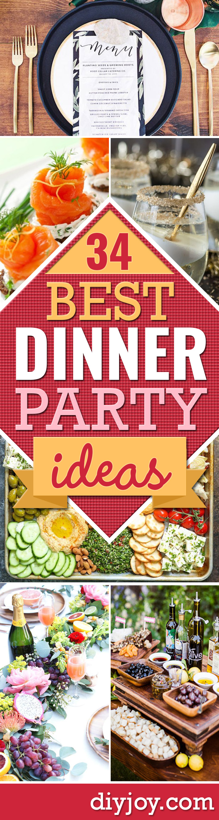 Best Dinner Party Ideas - Best Recipes for Foods to Serve, Casseroles, Finger Foods, Desserts and Appetizers- Place Settings and Cards, Centerpieces, Table Decor and Recipe Ideas for Supper Clubs and Dinner Parties http://diyjoy.com/best-dinner-party-ideas