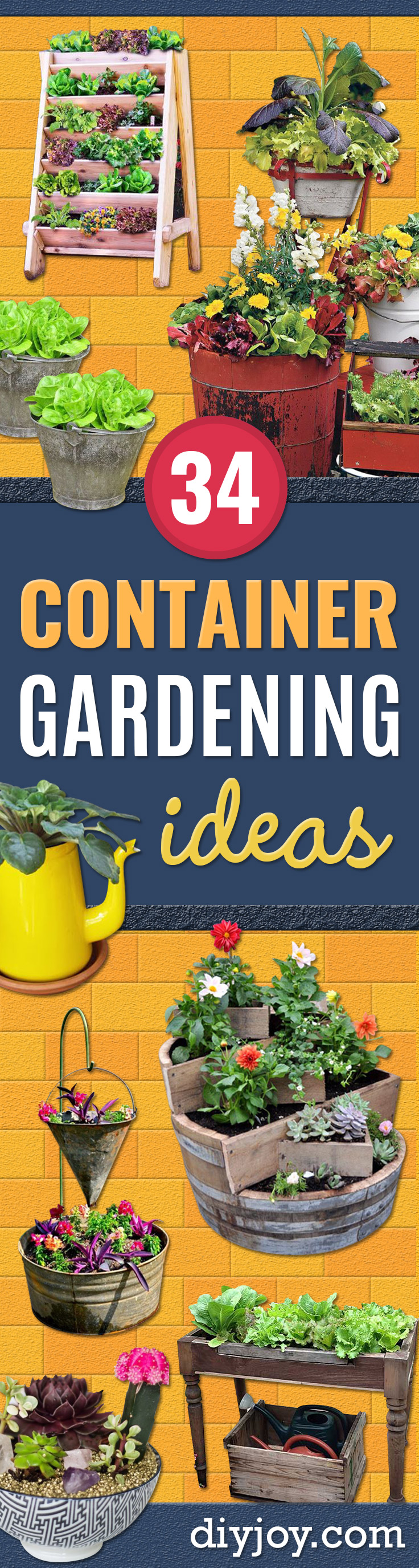 Container Gardening Ideas - Easy Garden Projects for Containers and Growing Plants in Small Spaces - DIY Potting Tips and Planter Boxes for Vegetables, Herbs and Flowers - Simple Ideas for Beginners -Shade, Full Sun, Pation and Yard Landscape Idea tutorials