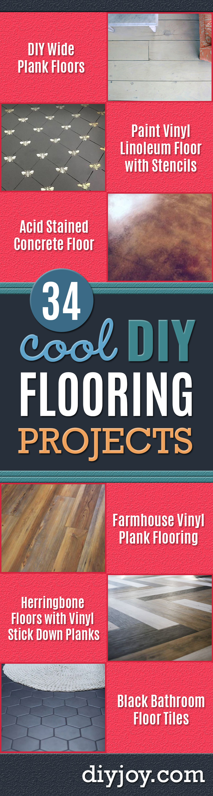 DIY Flooring Projects - Cheap Floor Ideas for Those On A Budget - Inexpensive Ways To Refinish Floors With Concrete, Laminate, Plywood, Peel and Stick Tile, Wood, Vinyl - Easy Project Plans and Unique Creative Tutorials for Cool Do It Yourself Home Decor http://diyjoy.com/diy-flooring-projects