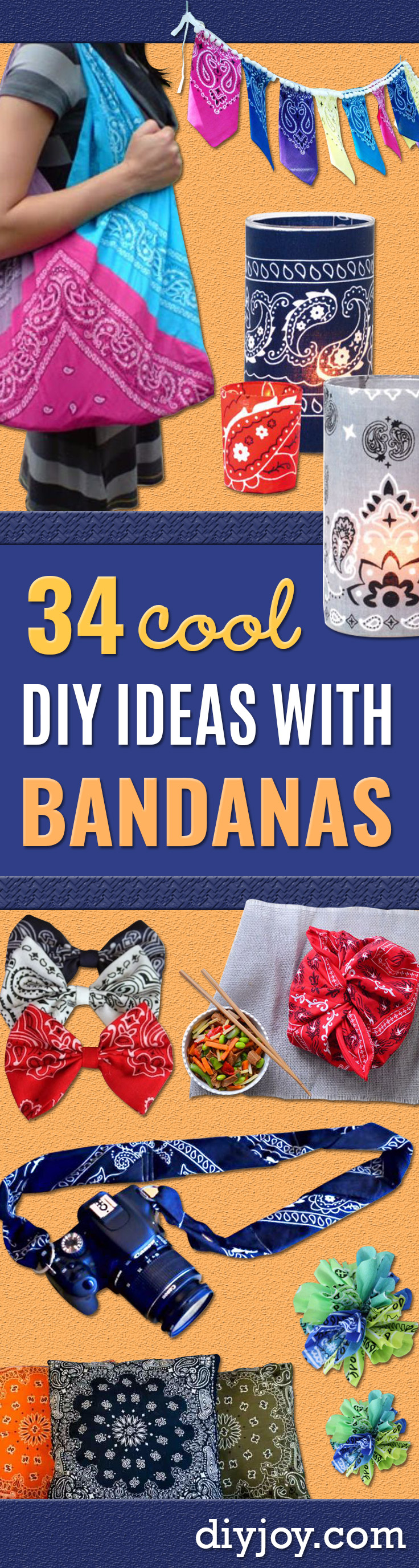 DIY Ideas With Bandanas - Bandana Crafts and Decor Projects Made With A Bandana - No Sew Ideas, Bags, Bracelets, Hats, Halter Tops, Blankets and Quilts, Headbands, Simple Craft Project Tutorials for Kids and Teens - Home Decoration and Country Themed Crafts To Make and Sell On Etsy http://diyjoy.com/diy-ideas-bandanas