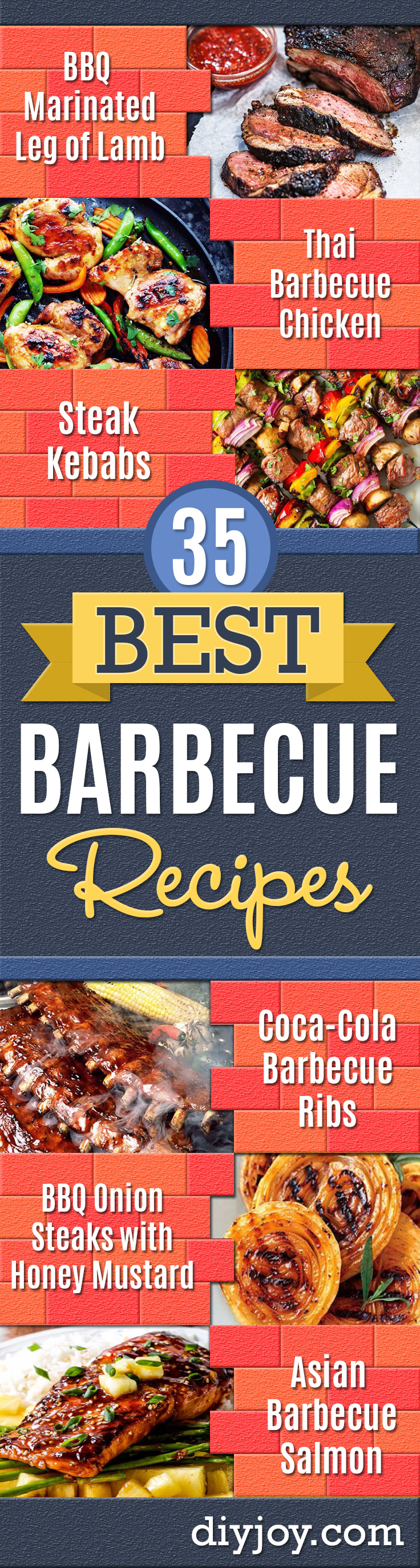 Best Barbecue Recipes - Easy BBQ Recipe Ideas for Lunch, Dinner and Quick Party Appetizers - Grilled and Smoked Foods, Chicken, Beef and Meat, Fish and Vegetable Ideas for Grilling - Sauces and Rubs, Seasonings and Favorite Bar BBQ Tips http://diyjoy.com/best-bbq-recipes