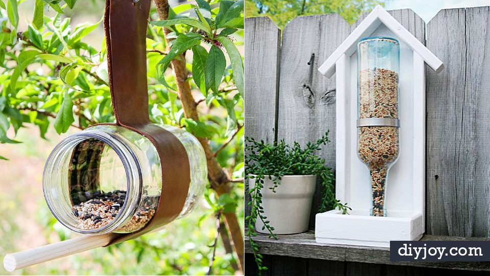 DIY Bird Feeders - Easy Do It Yourself Homemade Bird Feeder Ideas from Mason Jar, Wooden, Wine Bottle, Milk Jug, Plastic, Dollar Store Supplies - Squirrel Proof, Unique and Creative Tutorials That Make Cool DIY Gifts http://diyjoy.com/diy-bird-feeders