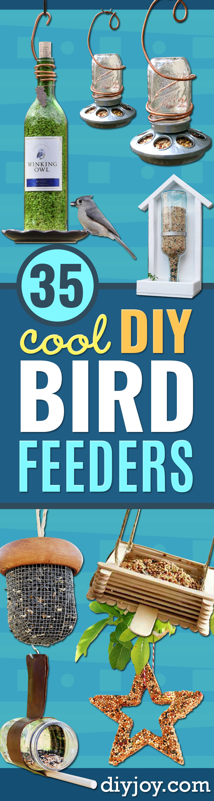 DIY Bird Feeders - Easy Do It Yourself Homemade Bird Feeder Ideas from Mason Jar, Wooden, Wine Bottle, Milk Jug, Plastic, Dollar Store Supplies - Squirrel Proof, Unique and Creative Tutorials That Make Cool DIY Gifts #birds