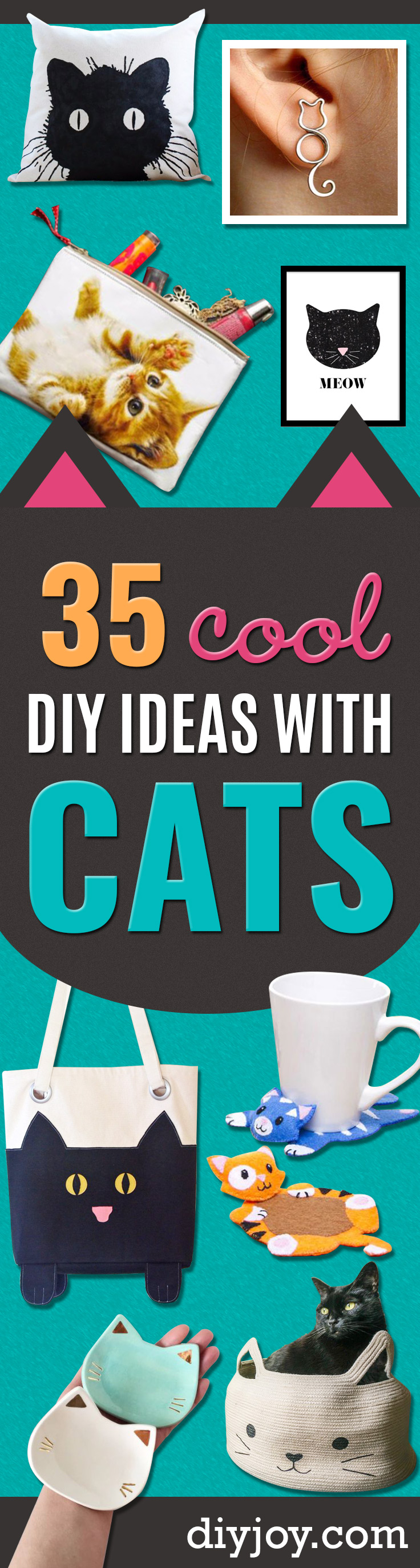 DIY Ideas With Cats - Cute and Easy DIY Projects for Cat Lovers - Wall and Home Decor Projects, Things To Make and Sell on Etsy - Quick Gifts to Make for Friends Who Have Kittens and Kitties - Homemade No Sew Projects- Fun Jewelry, Cool Clothes, Pillows and Kitty Accessories http://diyjoy.com/diy-ideas-cats